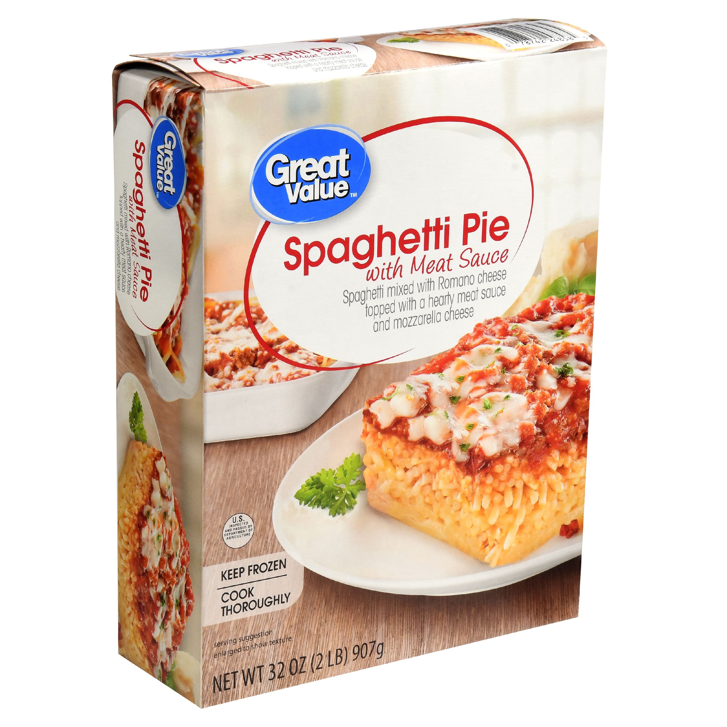 Great Value Frozen Spaghetti Pie with Meat Sauce, 32 oz