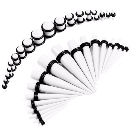 BodyJ4You 36PC Gauges Kit White Acrylic Taper Plug 14G-00G Ear Stretching Set O-Rings Body Piercing