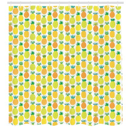 Pineapple Shower Curtain, Fresh and Sweet Hawaiian Fruits in Artful Shapes Organic Garden in Summer Season, Fabric Bathroom Set with Hooks, 69W X 84L Inches Extra Long, Multicolor, by -