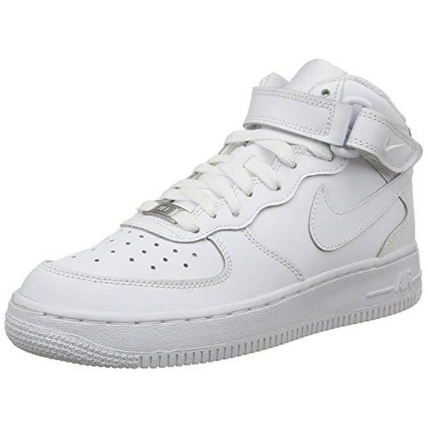 Nike 314195-113: Boys Air Force 1 Mid GS White Sneakers (5 M US Big Kid)