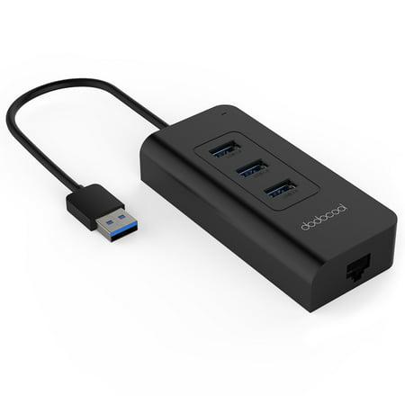 dodocool 3-Port USB 3.0 Hub with RJ45 Gigabit Ethernet Adapter Free Driver Support 10 / 100 / 1000 Mbps Ethernet