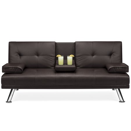 Best Choice Products Modern Faux Leather Convertible Folding Futon Sofa Bed Recliner Couch w/ Metal Legs, 2 Cup Holders - Brown