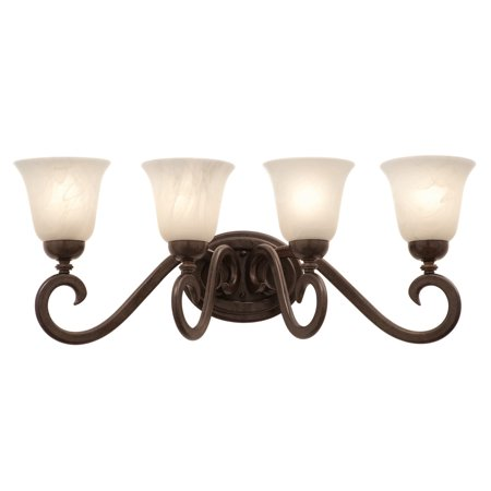 Bathroom Vanity 4 Light With Tortoise Shell Finished Calcite Glass E26 Bulb 27 inch 400 Watts