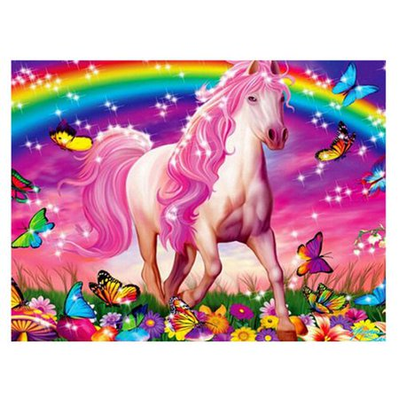 Fancyleo 5D DIY Pink Horse Rainbow Unicorn Rubik's Cube Round Diamond Diamond Painting Home Art Decoration - Halloween Decorations For Office Cube