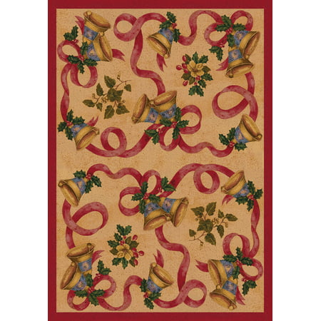 - Milliken Seasonal Inspirations Area Rugs - Novelty 00015 Chimes Christmas Bells Holly Bows Rug