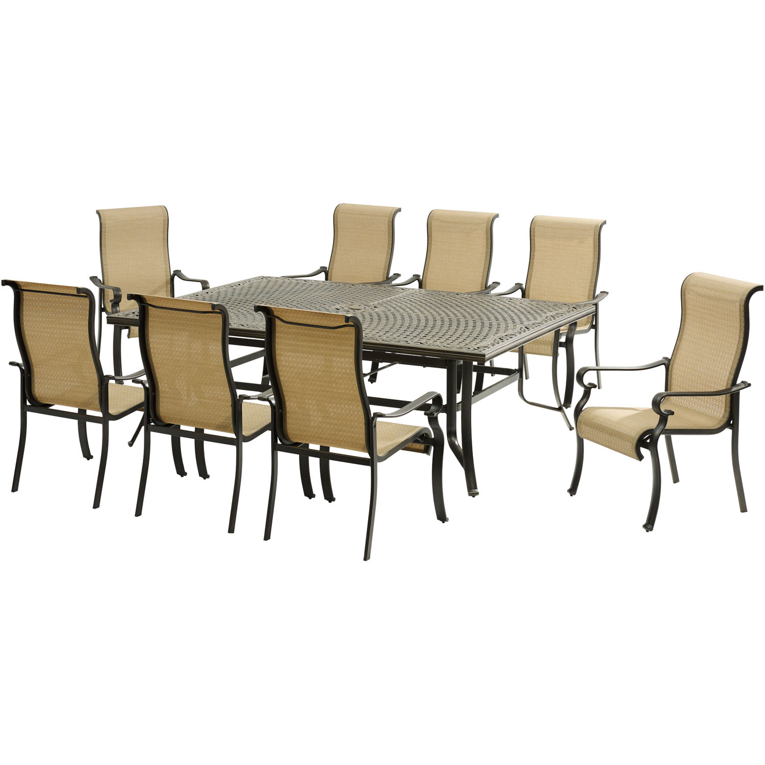 Hanover Brigantine 9-Piece Dining Set with an XL Cast-Top Dining Table and 8 Sling-back Dining Chairs