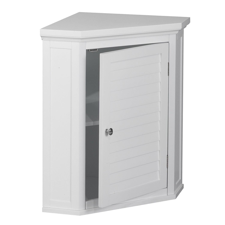White Shutter Door Corner Wall Storage Medicine Cabinet with Adjustable Shelves for Bathroom or Kitchen SALE! Chrome... by Elegant Home Fashions