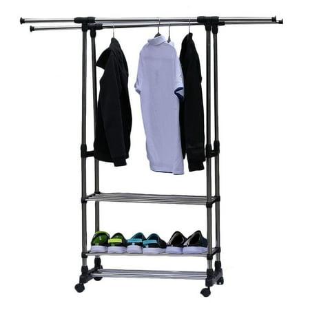 LAFGUR Dual Bars Horizontal & Vertical Telescope 3 Tiers Stainless Steel Clothing Garment Shoe Rack,Clothes Rack, Cloth Shoe Organizer Horizontal Sheet Rack