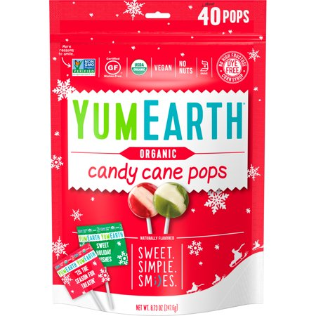 YumEarth  Organic  Candy Cane Pops  Wild Peppermint  40 Pops  8 73 oz  247 6 g