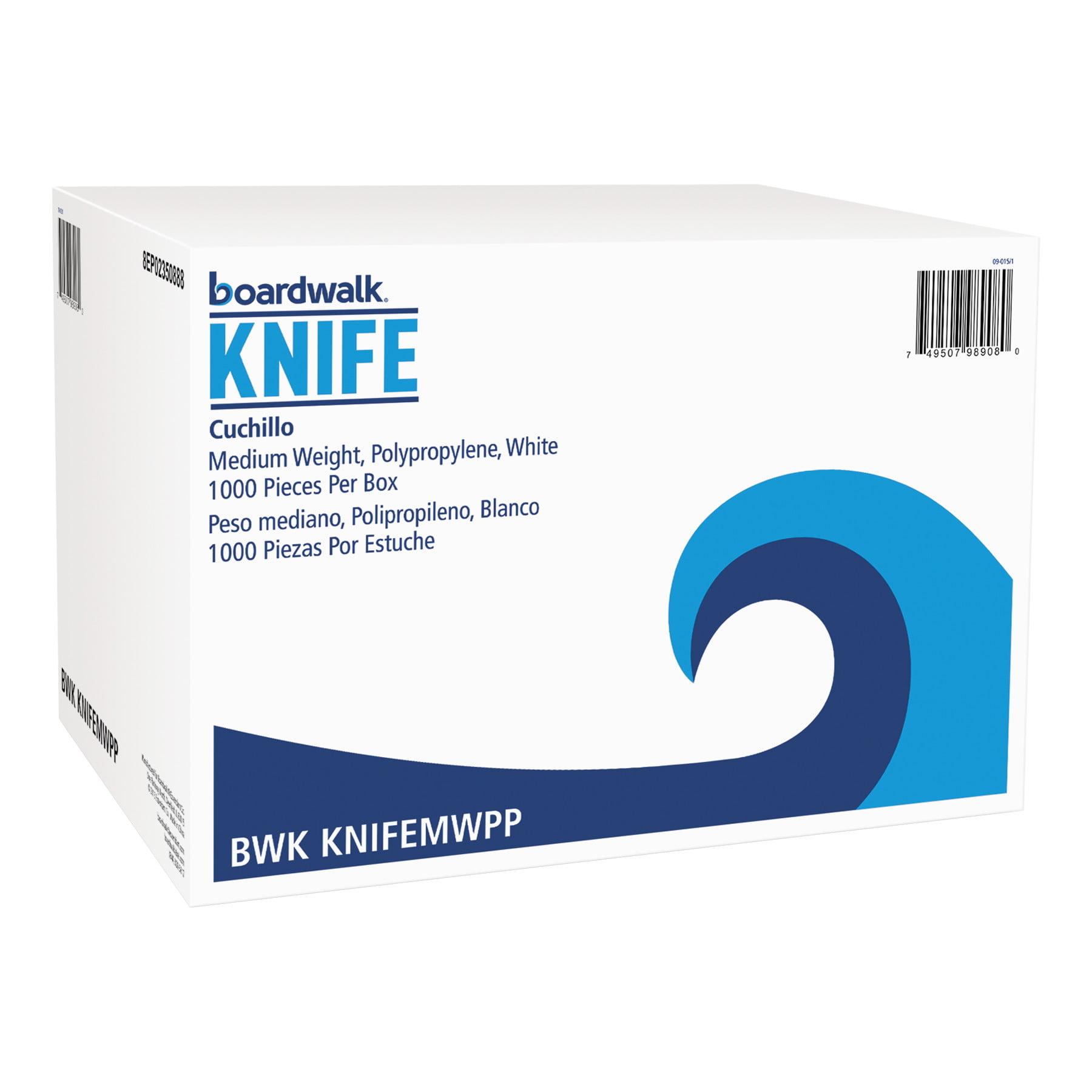 Boardwalk Medium Weight Polypropylene Knives, White, 1000 count -BWKKNIFEMWPP