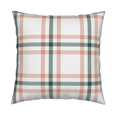 Plaid Coral Pink Nursery Sage Throw Pillow Cover w Optional Insert by Roostery