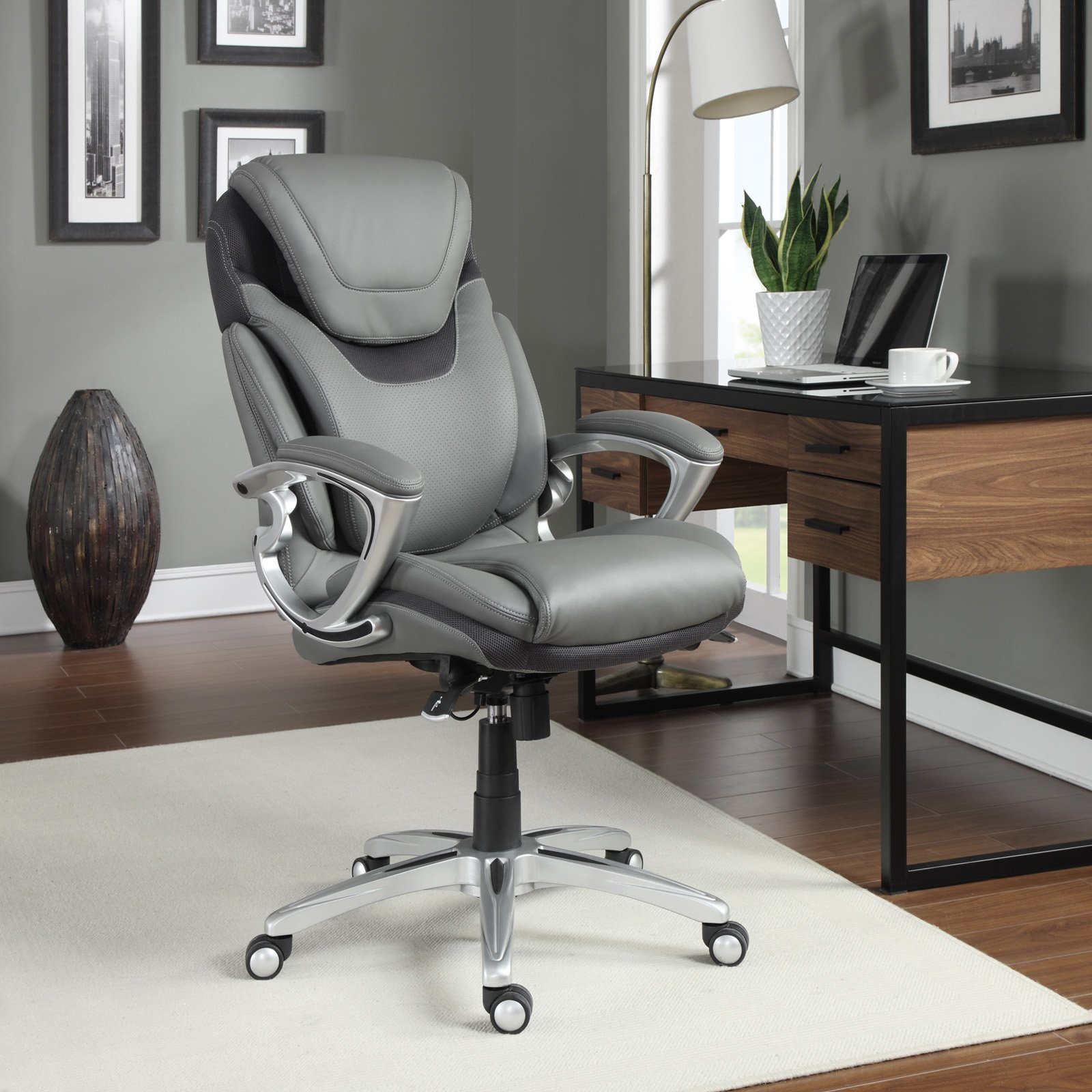 Serta AIR Health & Wellness Leather Executive Office Chair, Light Grey