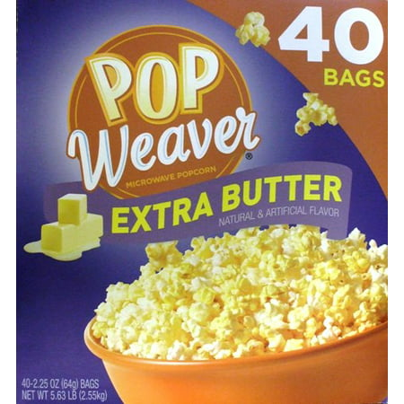 Pop Weaver Extra Butter Microwave Popcorn Bags, 2.25 Oz., 40 (Light Butter Microwave Popcorn)