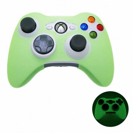 GREEN GLOW in DARK Xbox 360 Game Controller Silicone Case Skin Protector Cover (Control Freaks Xbox 360 Green)