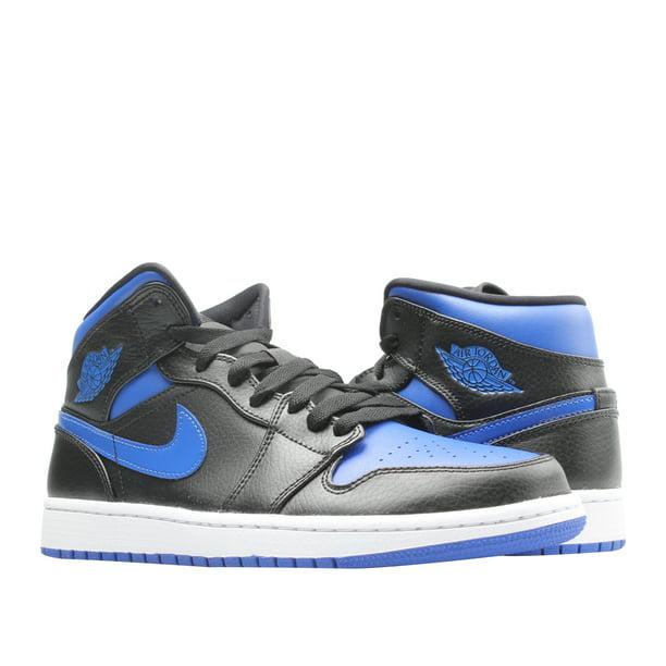 Nike Air Jordan 1 Mid Black/Hyper Royal-White Men's Basketball ...