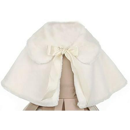 Girl Dress Coat (Little Girl Faux Fur Satin Ribbon Collar Dress Cape Flower Girl Bolero Jacket Jacket Ivory 2 SK C12 BNY)