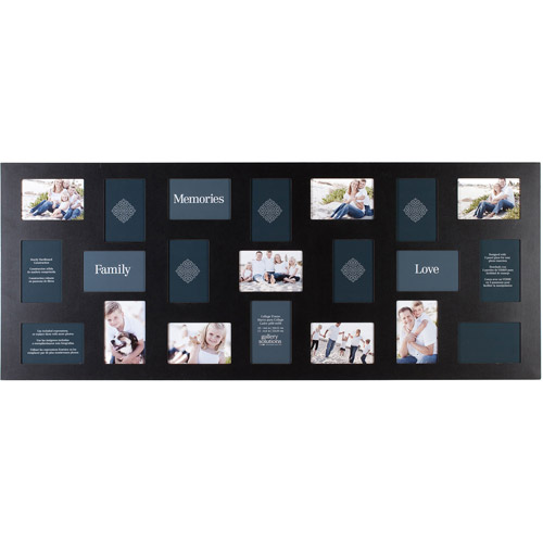 "Pinnacle Frame 21-Opening Collage Frame, 20"" x 48"", Black"