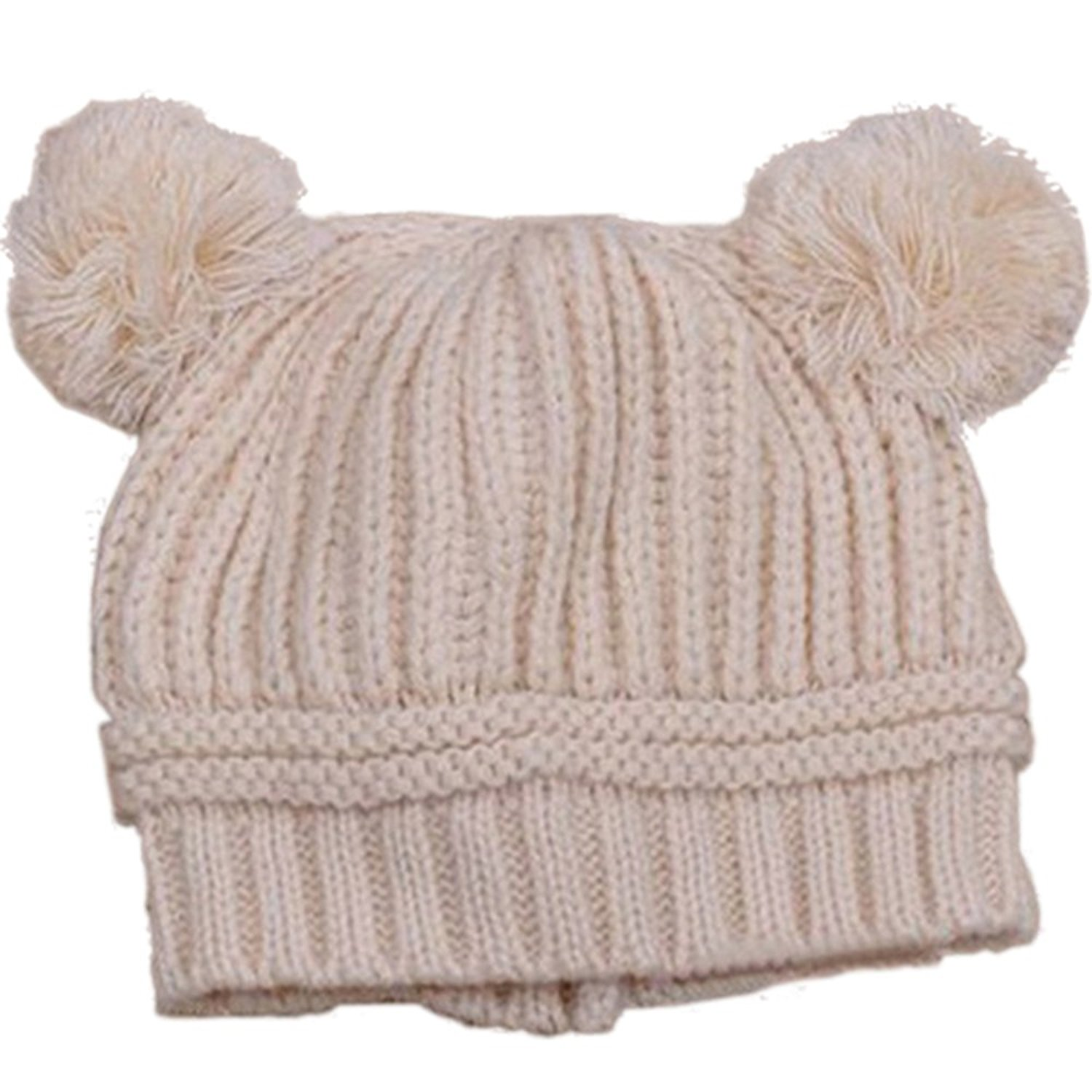 Baby Girls Boys Kids Knit Cap Winter Warm Hat (Beige.), P...