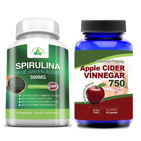 Totally Products Apple Cider Vinegar and Spirulina 500mg Super Food Combo