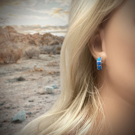 Desert Opal Half Hoop Earrings 925 Sterling Silver Nickle Free White Synthetic Opal Native American USA Handmade