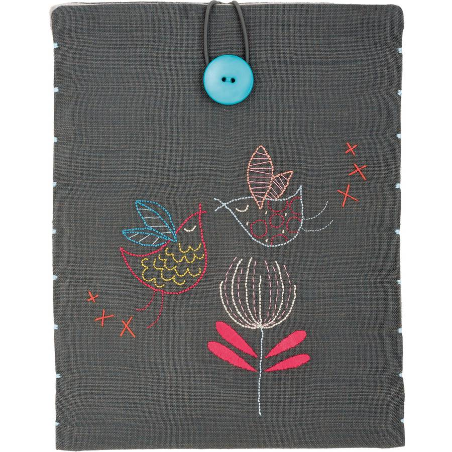 """Stylized Birds iPad Cover Stamped Embroidery Kit, 8.25"""" x 10.25"""""""