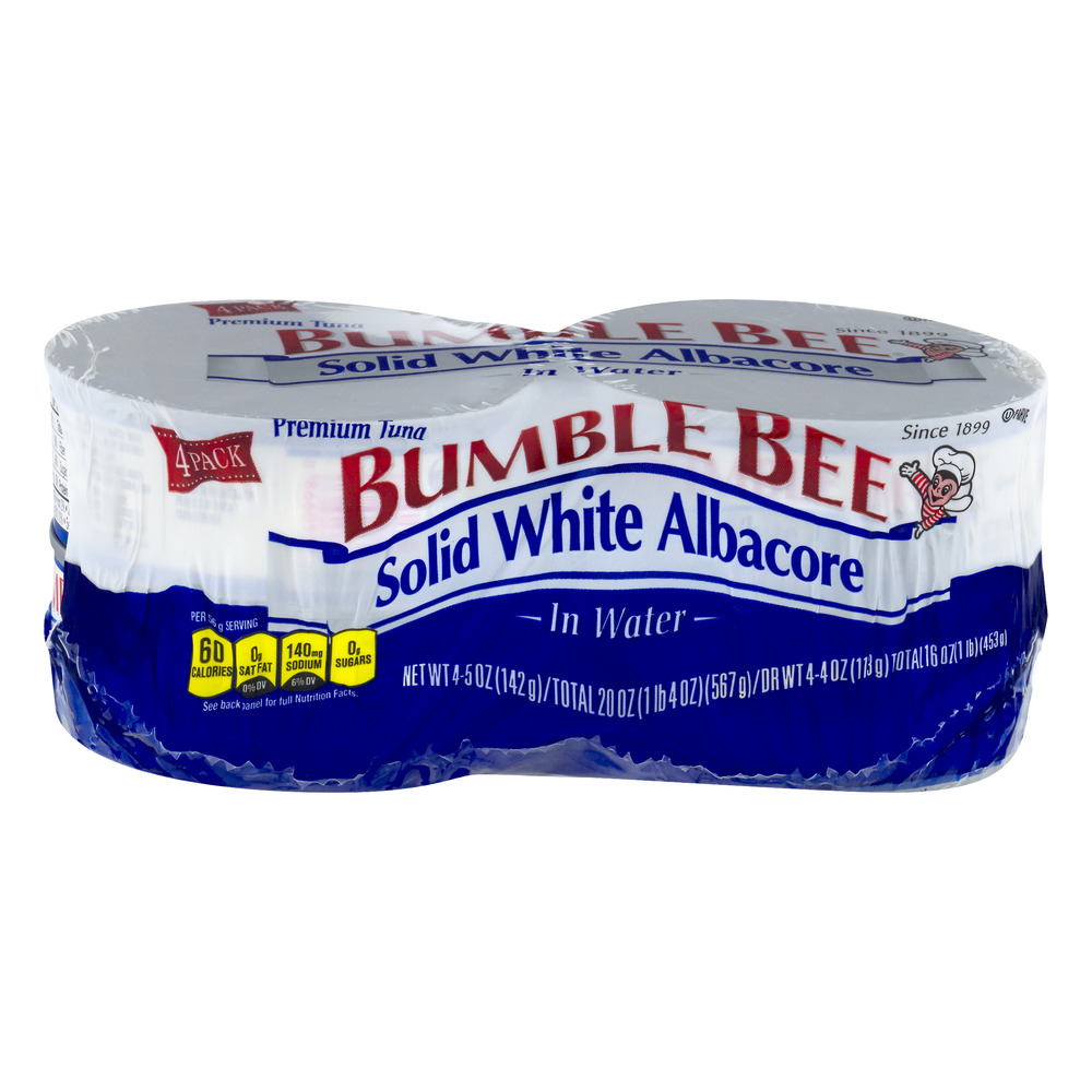 Bumble Bee Solid White Albacore Premium Tuna In Water - 4 PK, 5.0 OZ