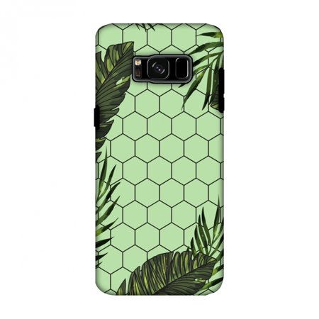 Samsung Galaxy S8 Case - Tropical Leaves - Pale Green, Hard Plastic Back Cover, Slim Profile Cute Printed Designer Snap on Case with Screen Cleaning Kit