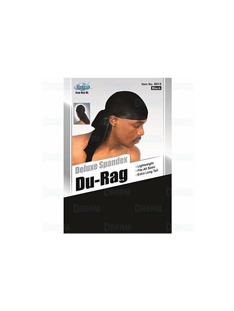Dream Deluxe Spandex Du-Rag Black Lightweight long tail extra long turban c...