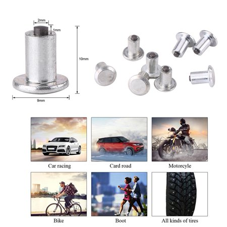 Image of HURRISE 100pcs 9mm/0.35 Wheel Tyre Stud Screws Snow Tire Spikes for Car Auto SUV ATV, Tyre Screw,Tire Spikes