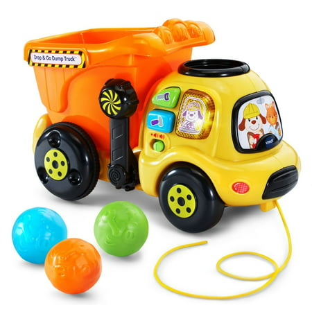 Drop And Go Dump Truck   Online Exclusive  Drop A Colorful Rock Into The Top Of This Cheerful Dump Truck Toy And Watch It Tumble Into The Bucket To Learn Numbers By Vtech