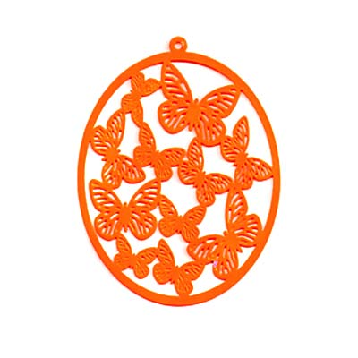 Orange Color Coated Brass Filigree Stamping By Ezel - Oval With Butterflies 58mm (1)