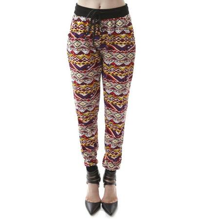 Fantastic Women Aztec Printed Jogger Pants Size Medium M  BlackWhite