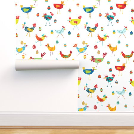 Removable Water-Activated Wallpaper Chicken Hens Quirky Birds Rooster Eggs Happy