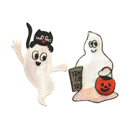 ID 0872AB Set of 2 Friendly Ghost Patches Halloween Embroidered Iron On Applique