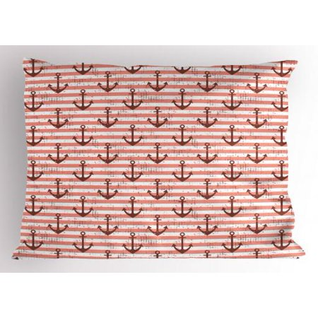 Anchor Pillow Sham Vintage Style Nautical Symbols on a Grunge Pastel Colored Background, Decorative Standard Size Printed Pillowcase, 26 X 20 Inches, Redwood Coral and White, by Ambesonne