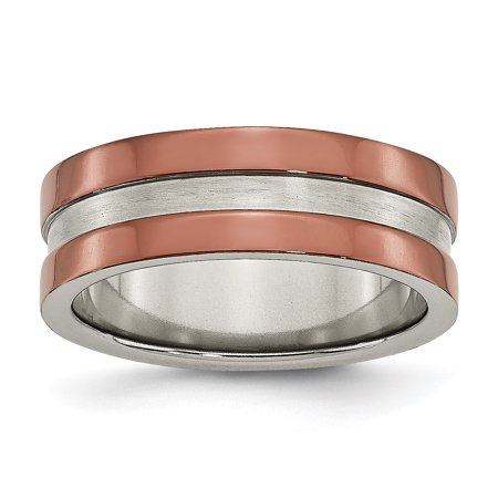 Titanium Grooved 8mm Brown Plated Brushed Center Wedding Ring Band Size 7.00 Gifts For Women For Her