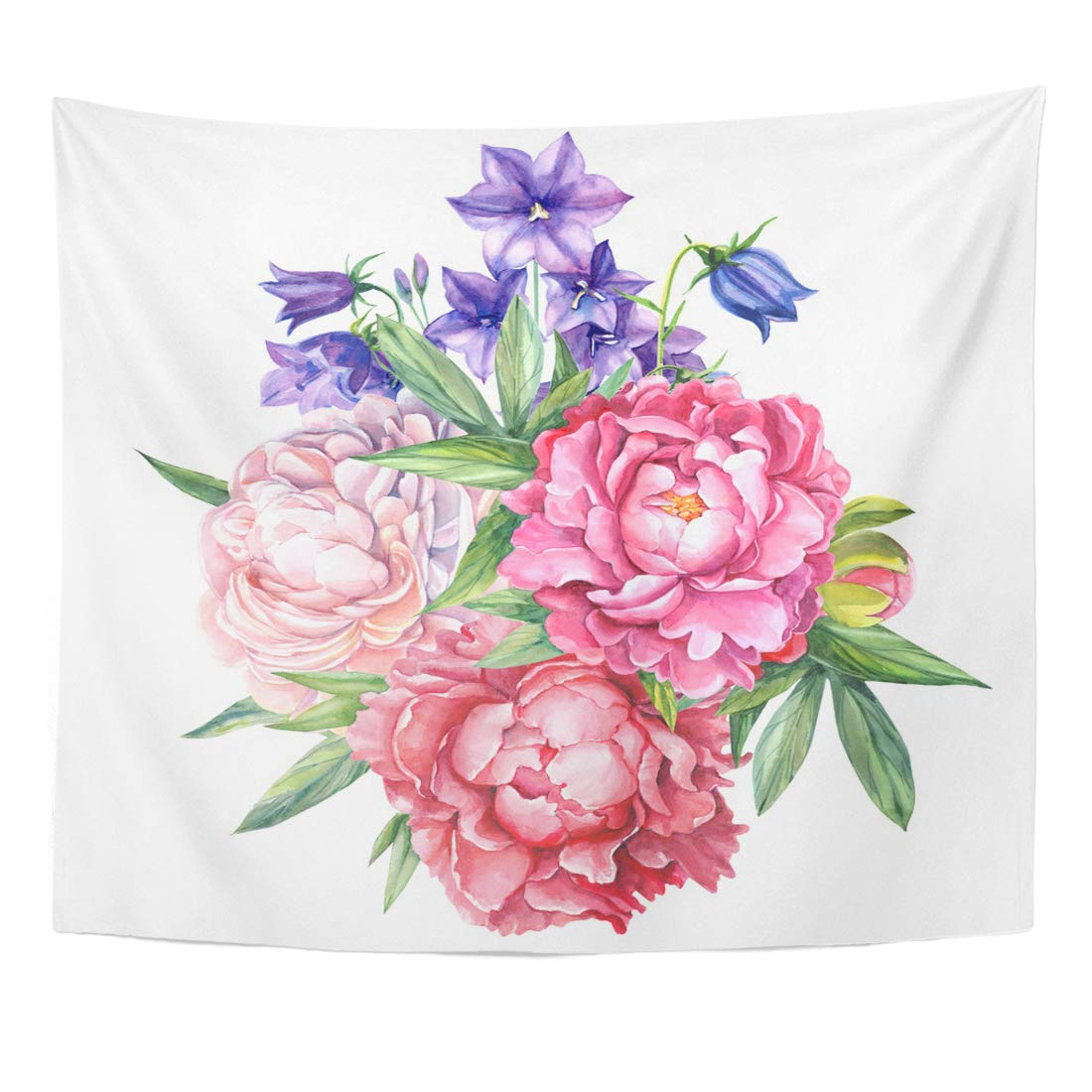 Refred Pink Birthday Colorful Vintage Flowers Bouquet Bells Peony Watercolor Green Beautiful Purple Blossom Wall Art Hanging Tapestry Home Decor For Living Room Bedroom Dorm 60x80 Inch Walmart Com Walmart Com