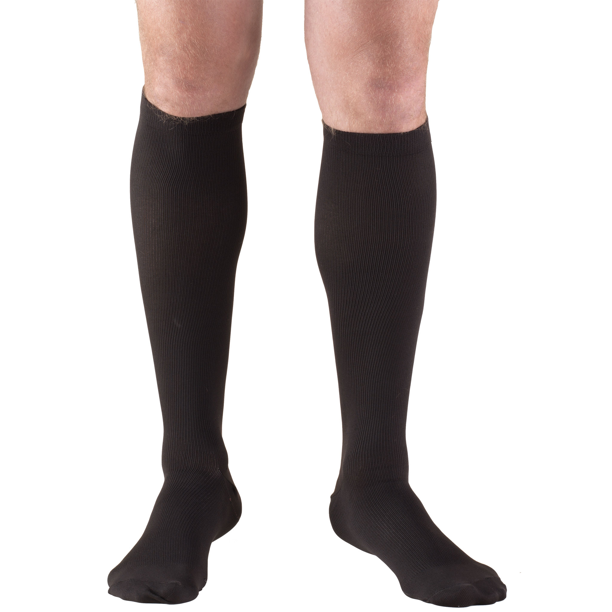 Truform Men's Socks, Knee High, Dress Style: 30-40 mmHg, Black, Small