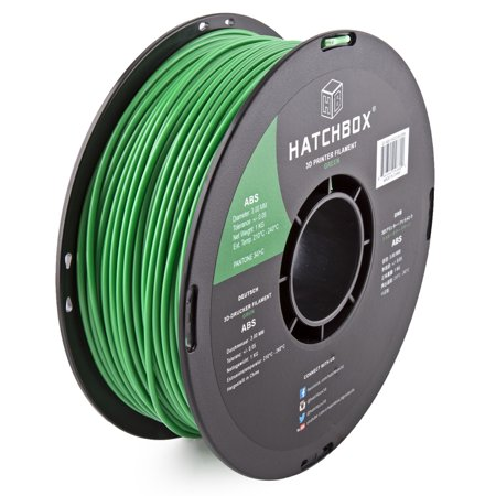 HATCHBOX 3D ABS-1KG3.00-GRN ABS 3D Printer Filament, Dimensional Accuracy +/- 0.05 mm, 1 kg Spool, 3.00 mm, Green