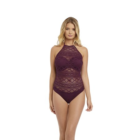 01427f9b83529 Freya - Freya Womens Sundance Underwire High Neck Cutout Swimsuit, 36E,  Black Cherry - Walmart.com