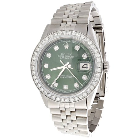 Mens Rolex 36mm DateJust Diamond Watch Jubilee Steel Band Custom Green Dial 2 CT