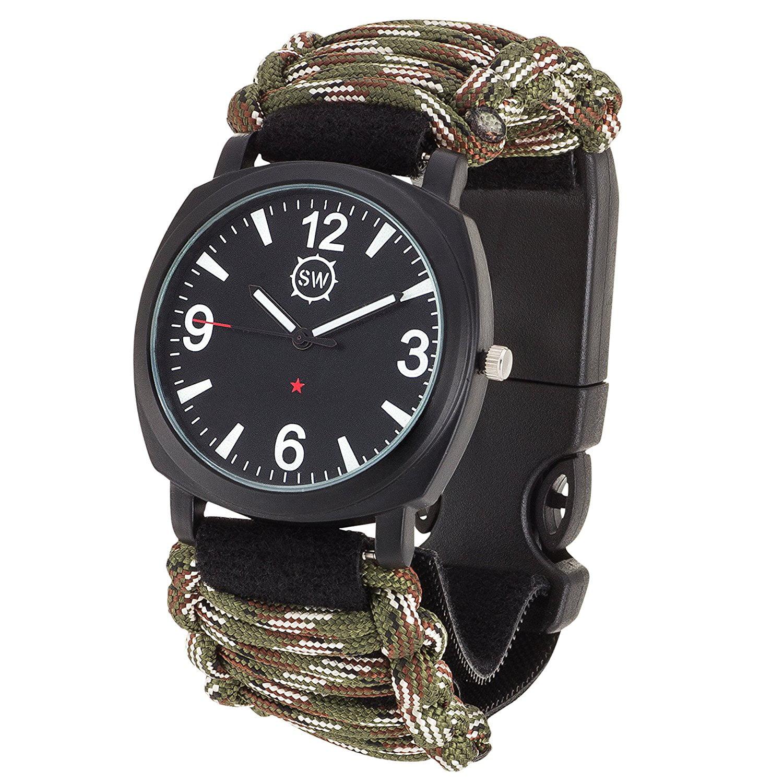 Survival Camo Paracord Bracelet Flint Fire Starter Compass Whistle Gear Olive G