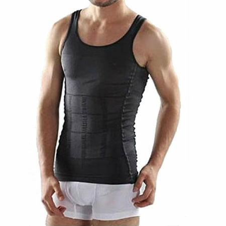 Hommes Body Minceur Shaper Underwear Tummy ventre shapewear taille XL Noir Ceinturon shirt chaud