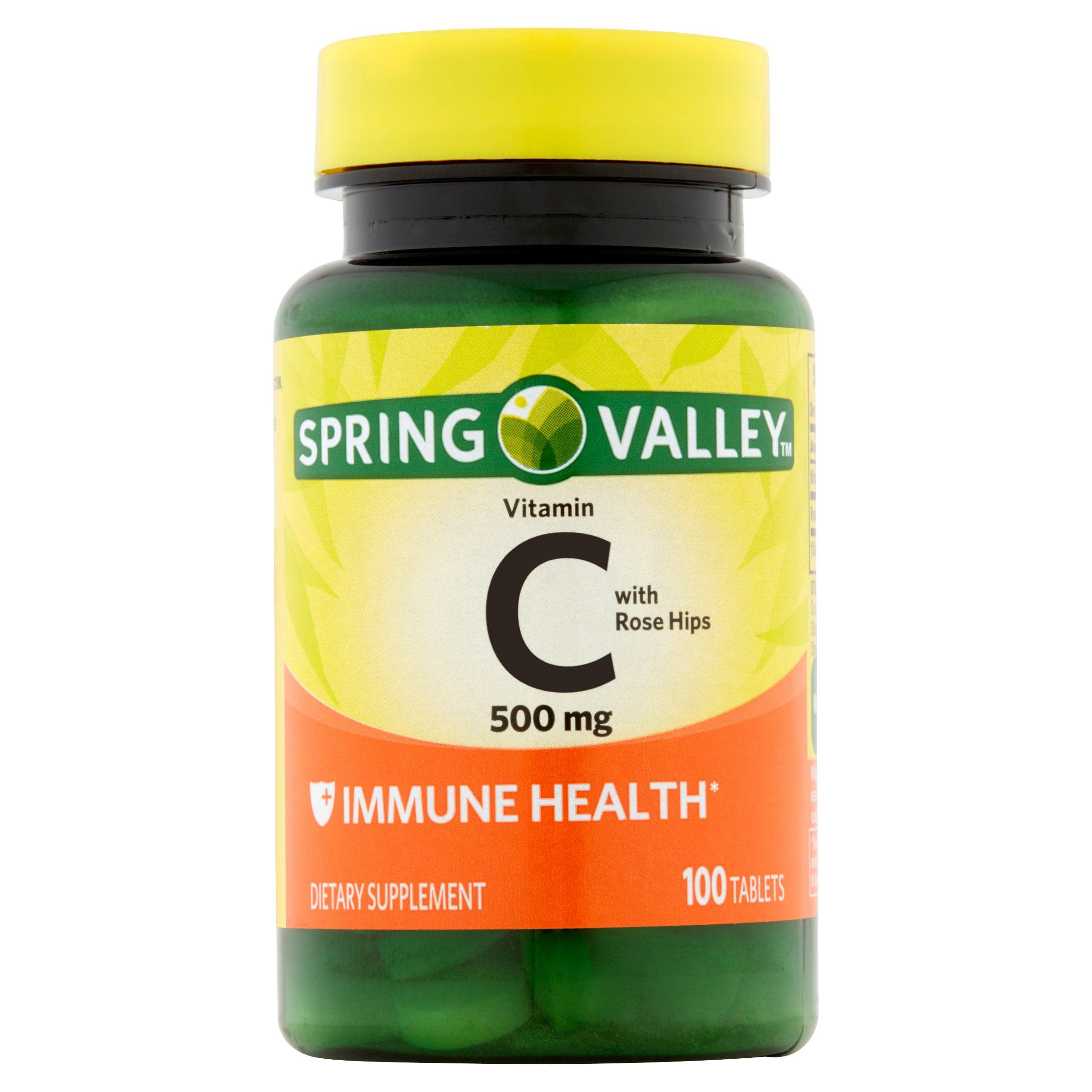 Spring Valley Vitamin C Tablets, 500 mg, 100 Ct