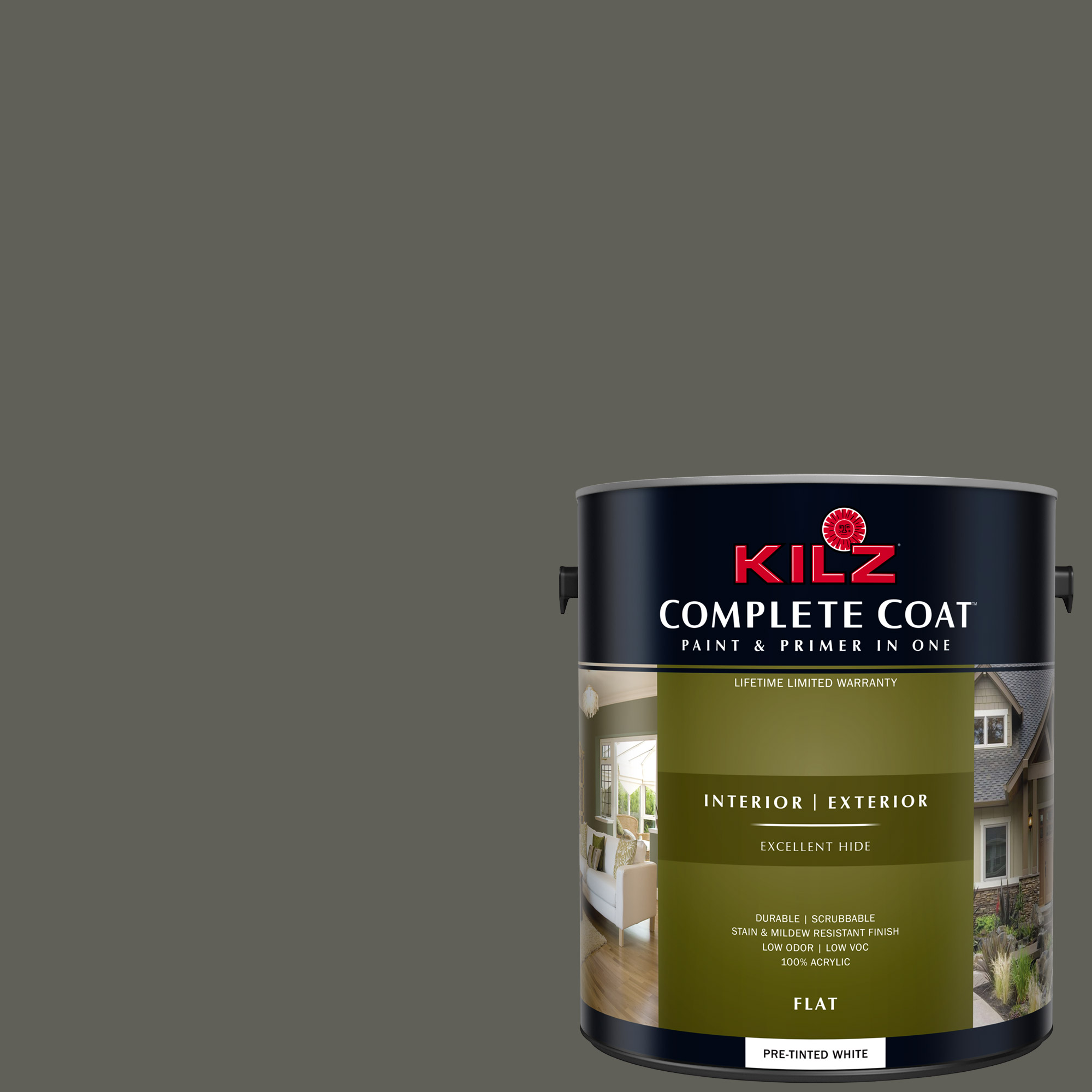 KILZ COMPLETE COAT Interior/Exterior Paint & Primer in One #RM190 Dark Umber