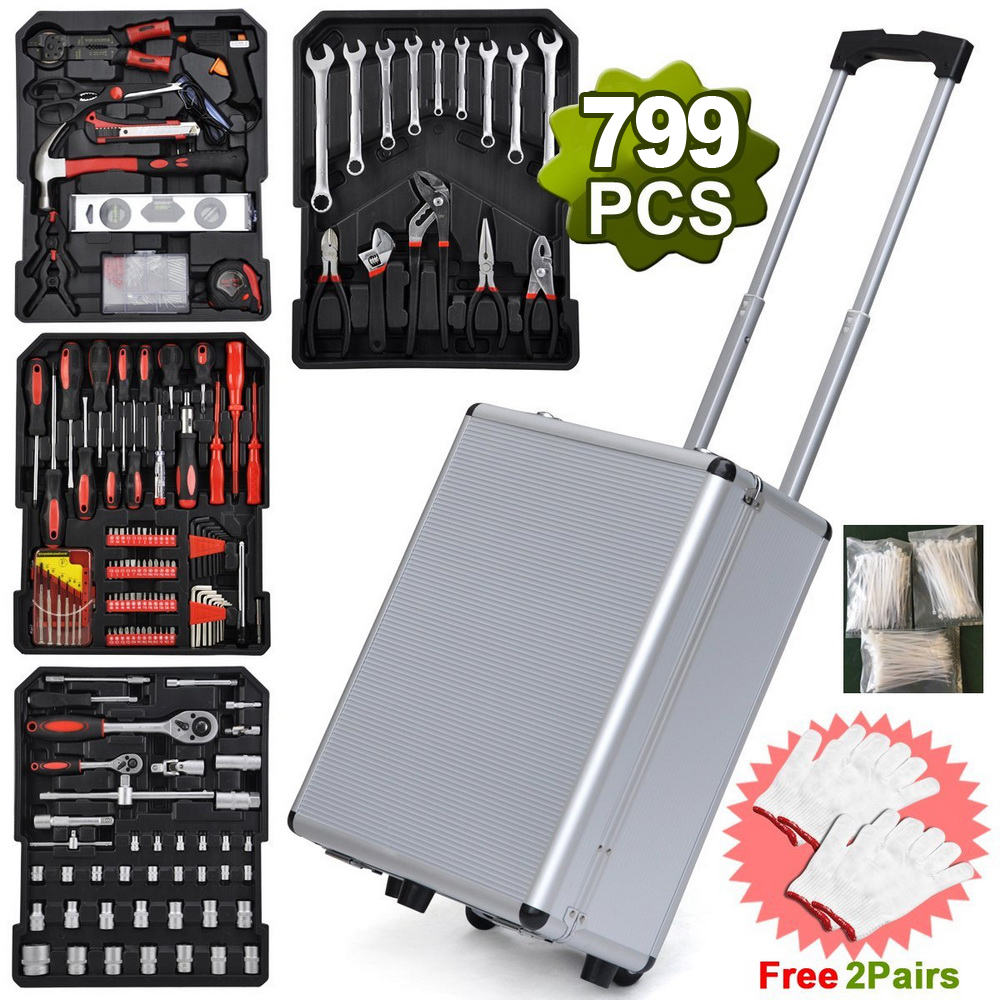 Zimtown 799 PCS Mechanics Tool Kit Wrenches Socket w Trolley Case DTY Hand Tool Set by