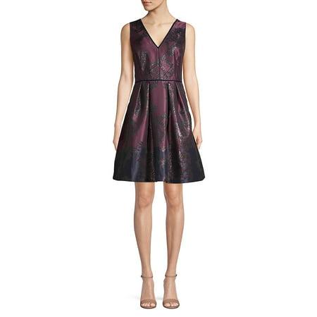 Vince Camuto V Neck Metallic Jacquard Fit Amp Flare Dress