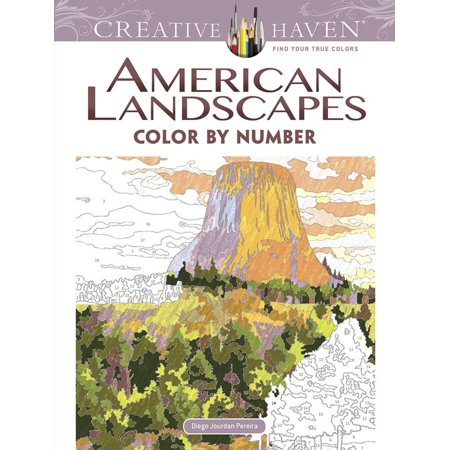 Creative Haven Coloring Books: Creative Haven American Landscapes Color by Number Coloring Book - Coloring By Numbers