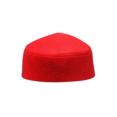 0417129c0 TheKufi® Red Fez-style Kufi Hat Faux Felt Muslim Cap with Pointed Top (XXL)