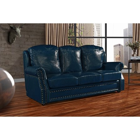 Leather Sofa 3 Seater Living Room Couch With Nailhead Trim Blue